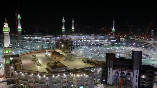 Draufsicht-der-Masjidil-Haram-(Moschee)-mit-teilweise-sichtbaren-Kaaba-in-Mekka-Saudi-Arabien-