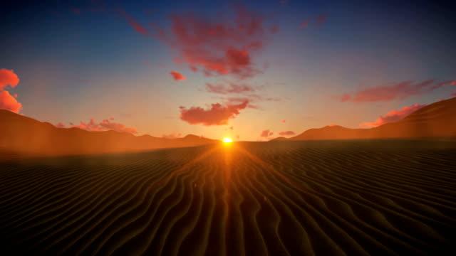 Desert-against-beautiful-sunset-timelapse-clouds-4K