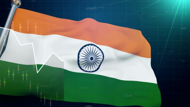 India-flag-on-stock-market-background-trade-finances-Bombay-exchange-currency