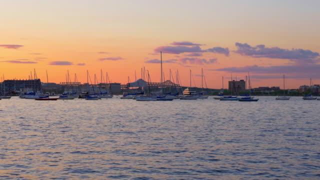 4K---Boston-waterfront-at-sunset---massachusetts-USA