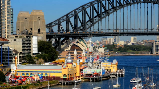 Lavender-Bay-Sydney-Harbor-Bridge-Luna-Park-North-Sydney-and-Sydney-Opera-House-(4K/UHD-to-HD)