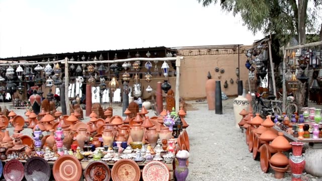 A-huge-load-of-handcraft-in-the-yard-of-a-shop-in-the-outskirts-of-Marrakech