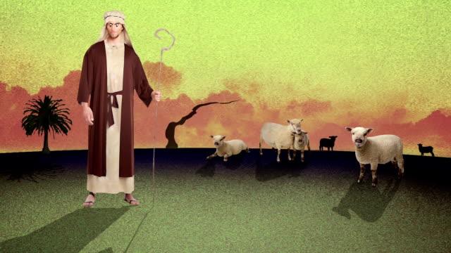 A-Cartoon-of-aYoung-Biblical-Shepherd-Herding-Sheep-in-a-Desert