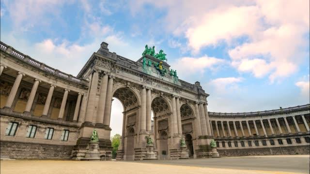 Timelapse-at-Arcade-du-Cinquantenaire-of-Brussels-(Arc-de-Triomphe)-Brussels-Belgium-4K-Time-Lapse