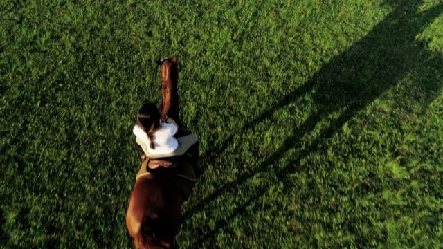 Una-mujer-joven-cabalga-un-caballo-marrón-con-su-espalda-a-la-cámara-cámara-lenta-vista-superior