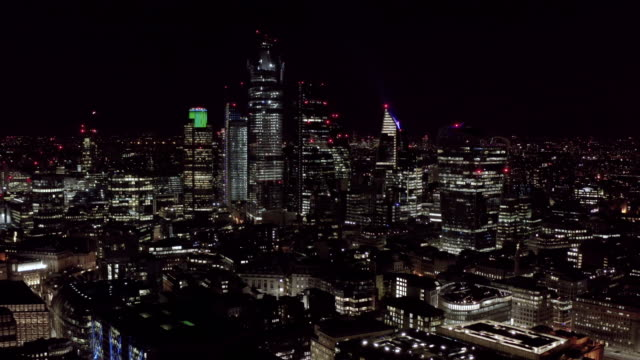Aerial-View-of-Urban-City-of-London-at-Night