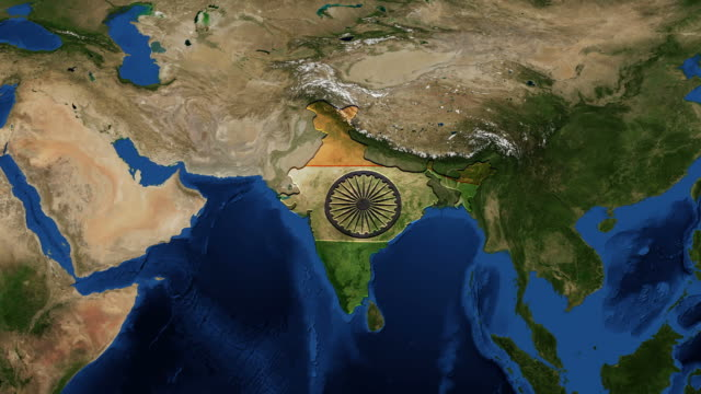 India-map-and-flag-from-space