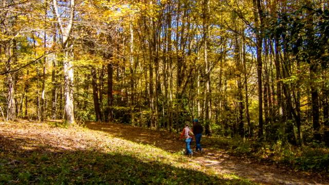 Blue-Ridge-Mountain-Hiking-Trial-with-People-Walking-in-Autumn