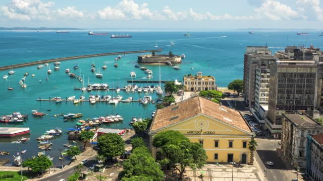 Timelapse-vista-de-todos-los-santos-de-la-bahía-en-el-Salvador-Bahia-Brasil
