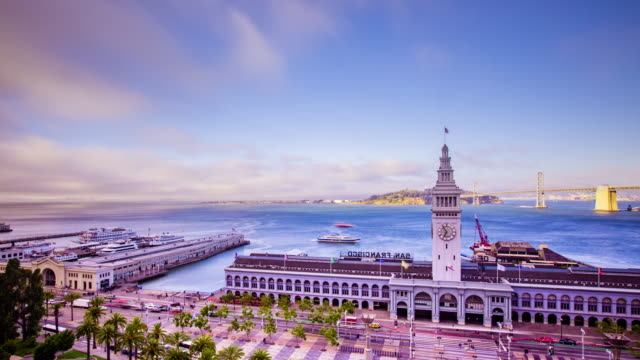 Tiempo-transcurrido---San-Francisco-Ferry-Building-con-Ferries---4K