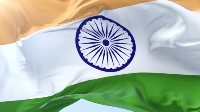 Indian-flag-waving-at-wind-in-slow-in-blue-sky-loop