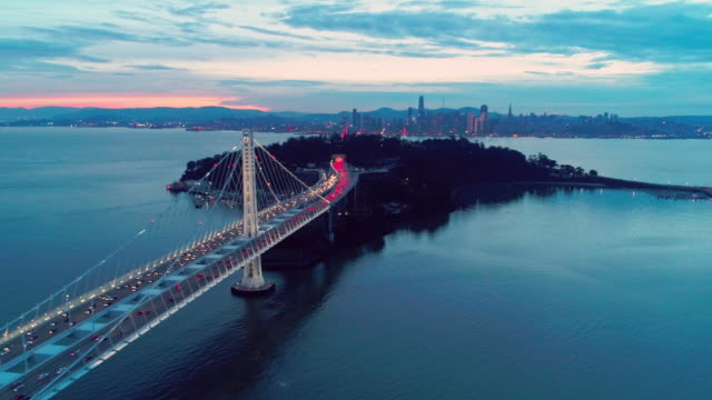 Aerial-video-of-the-Bay-Bridge-and-San-Francisco-skyline