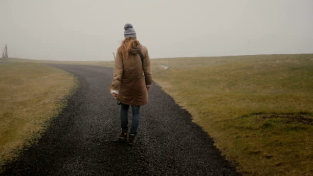 Back-view-of-young-woman-walking-through-the-field-alone-Stylish-female-exploring-the-nature-of-Iceland