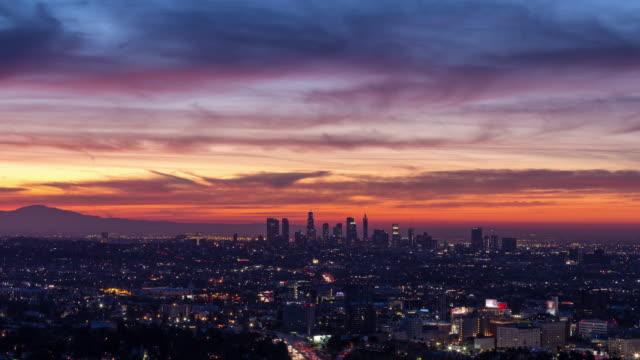 Horizonte-de-los-Ángeles-y-Hollywood-hermoso-Skyfire-amanecer-cerca