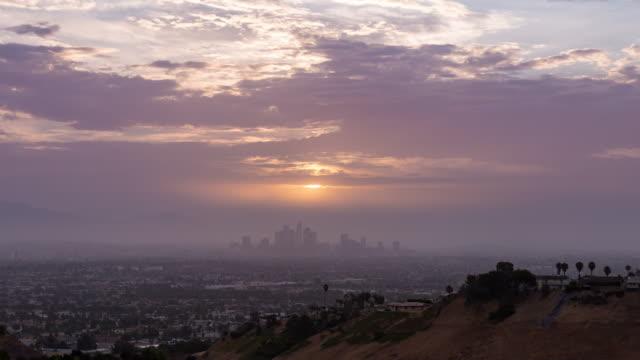 Centro-de-Los-Ángeles-horizonte-Sunrise-Timelapse