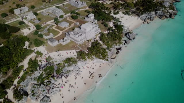 Ruins-of-the-ancient-Maya-city---Tulum-and-a-beautiful-beach-Aerial-View-
