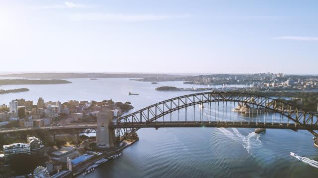 Hyperlapse-Drohne-Ablauf-der-Skyline-von-Sydney-bei-Sonnenaufgang-