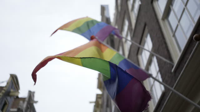 Regenbogenfarbenen-Flaggen-wehten-auf-Straße
