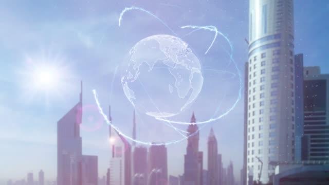 3D-Hologramm-des-Planeten-Erde-vor-dem-Hintergrund-der-modernen-Metropole