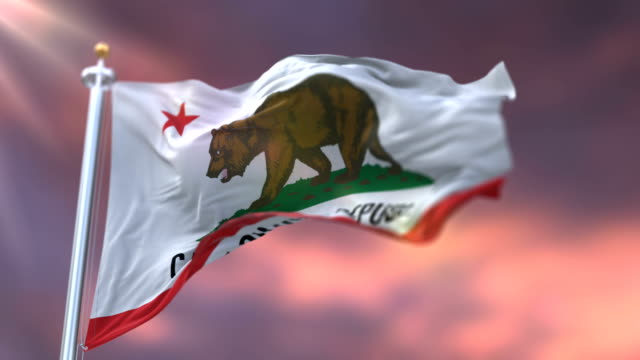 Flag-of-California-state-region-of-the-United-States-waving-at-sunset---loop