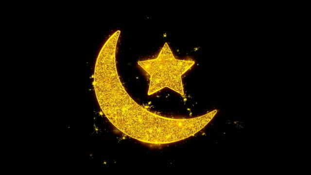 Eid-Islamische-Ikone-Funken-Partikel-auf-schwarzem-Hintergrund-