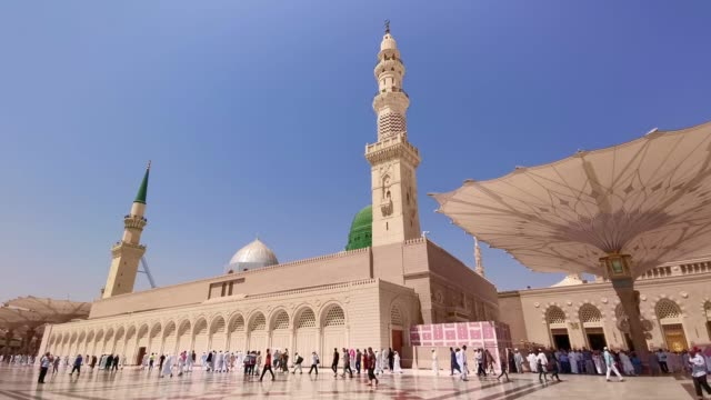 Clips-footage-of-Nabawi's-Mosque-exterior-building-in-Medina-(Madinah)