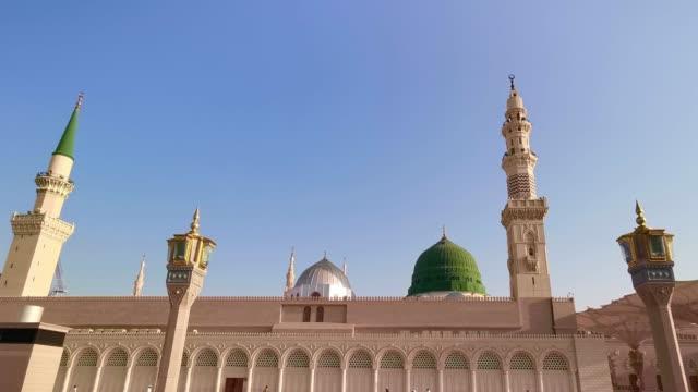 Clips-aufnahmen-von-Nabawis-Moschee-Außengebäude-in-Medina-(Madinah)