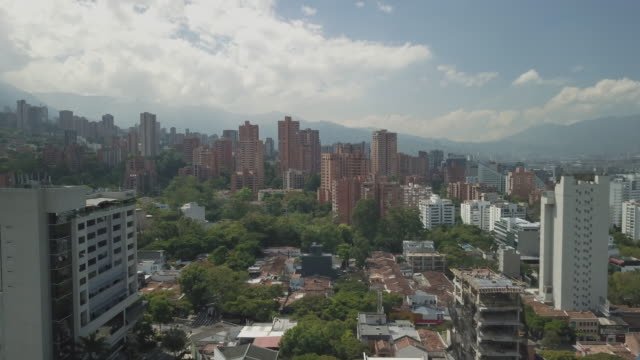 Aerial-drone-shot-of-Medellin-in-Colombia