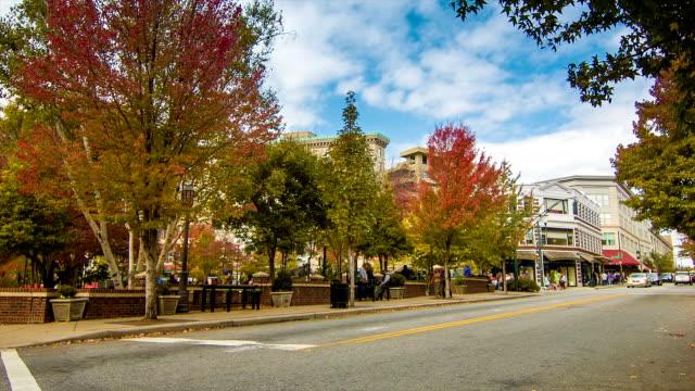 El-centro-de-Asheville-Carolina-del-Norte-en-el-parque-otoño-Pritchard