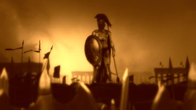 Spartan-Soldier-nach-einem-heroischen-Kampf-gegen-seine-gewaltige-Armee