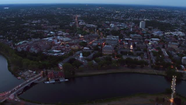 Aerial-view-of-Harvard-University-at-dusk