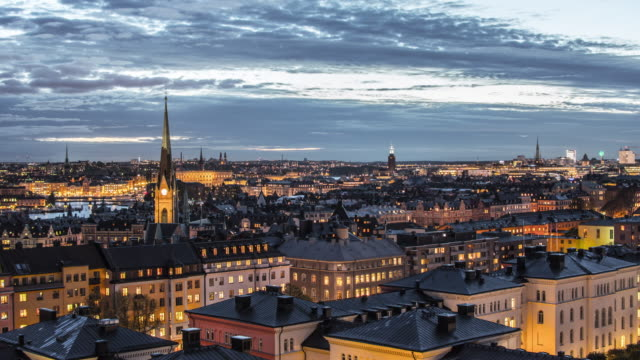 View-of-Stockholm-city-at-dusk-4K-Time-Lapse-Cityscape-skyline-Capital-of-Sweden