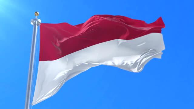 Flag-of-Indonesia-waving-at-wind-in-slow-in-blue-sky-loop