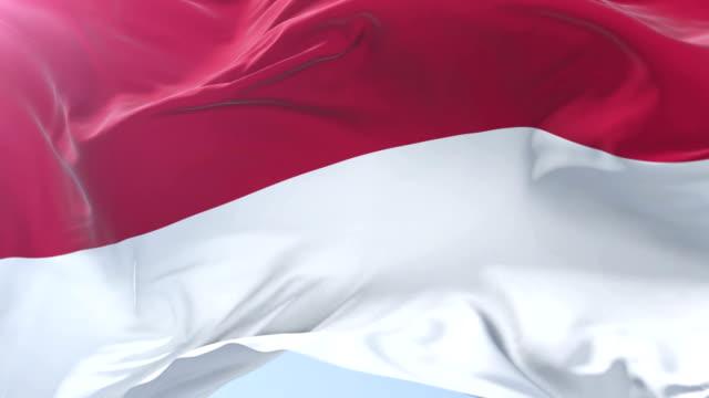 Indonesian-flag-waving-at-wind-in-slow-in-blue-sky-loop
