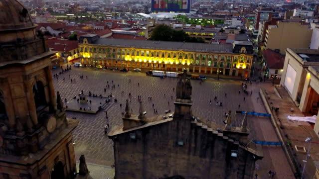 Aerial/Drone-View-of-the-Plaza-de-Bolivar-La-Candelaria-Bogotá-Colombia-3