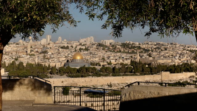zoom-in-shot-of-dome-of-the-rock-framed-by-olives-trees-in-jerusalem