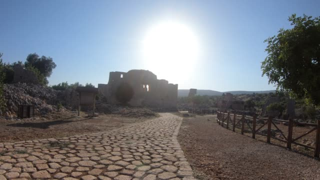 Steady-Cam-Shot-of-ancient-city-from-Kanlidivane-in-Mersin-Turkey-