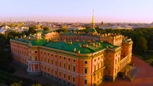 SAINT-PETERSBURG-RUSSIA---MAY-2018:-beautiful-Top-view-of-St-Petersburg-from-the-air-an-Mikhailovsky-(engineering)-castle-on-a-Sunny-summer-day