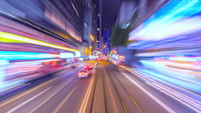 4K-Zeitraffer-Tram-schnell-Speed-Motion-In-City-Of-Hong-Kong