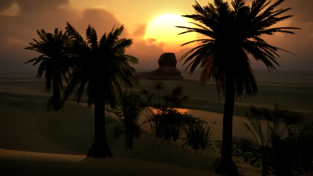 "Ã""gyptische-Sphinx-Desert-Sandsturm-Sand-Dunes-Oase-Sonnenuntergang-Wolken-LOOP"