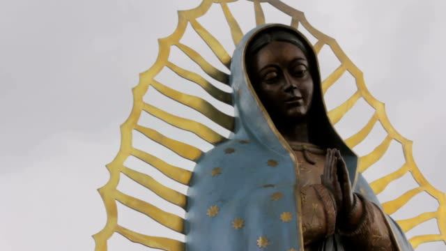 Closeup-of-a-Statue-of-the-Virgin-Guadalupe