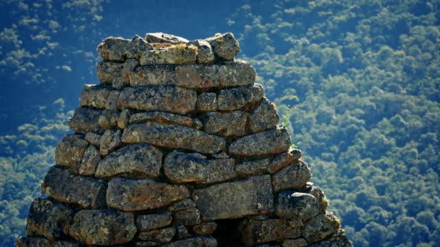 Aves-vuelan-alrededor-de-antiguas-ruinas