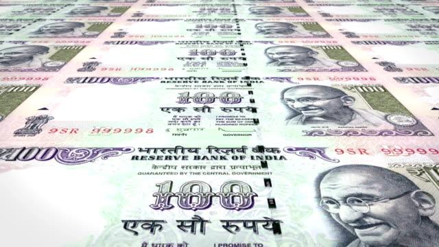 Banknoten-der-hundert-indischen-Rupien-Indiens-Rollen-Bargeld-Schleife