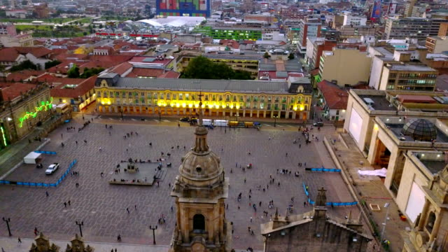 Aerial/Drone-View-of-the-Plaza-de-Bolivar-La-Candelaria-Bogotá-Colombia-2