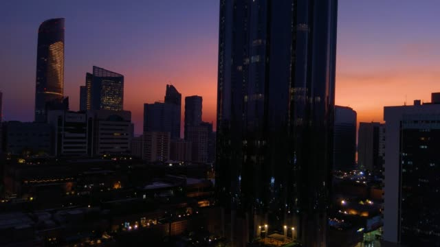 Beautiful-magical-sunset-with-the-moon-in-Abu-Dhabi-city-United-Arab-Emirates