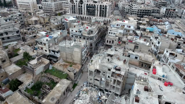 Aerial-view-of-ruined-houses-and-buildings-destrouyed-by-war-in-Syria