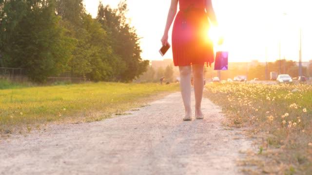 Mujer-en-vestido-rojo-con-bolso-de-compras-caminando-por-carretera-en-campo