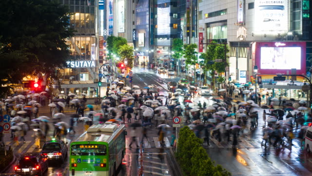 Shibuya-district-at-rainy-night-with-crowd-passing-crosswalk-Tokyo-Japan-4K-Timelapse-