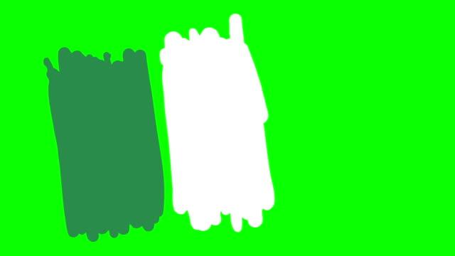 Bandera-de-Nigeria-dibujo-en-pizarra-pantalla-verde-aislado