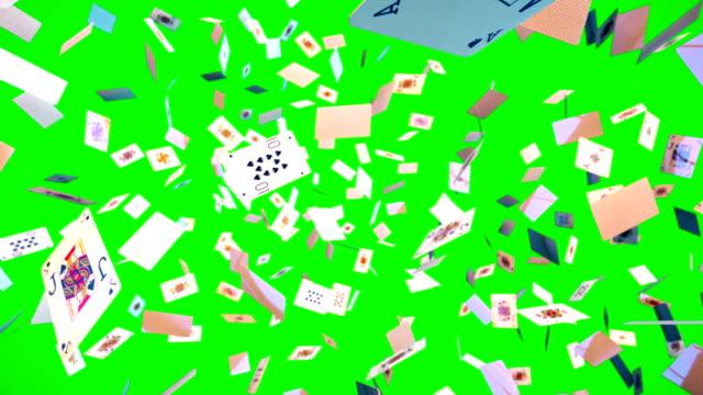 Ultra-HD-Loopable-animación-de-volar-juegos-de-cartas-en-pantalla-verde